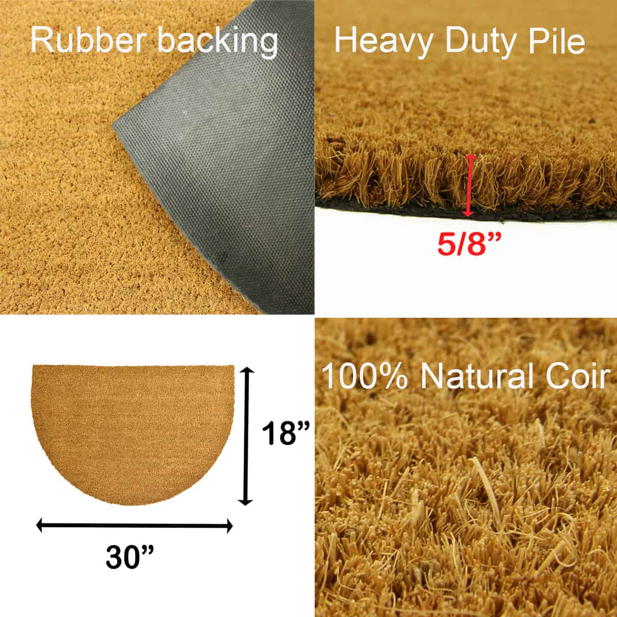 Sheltered Half Round Front Door Mat Lea Natural Braided Coir Coco Rubber Rug 30x18