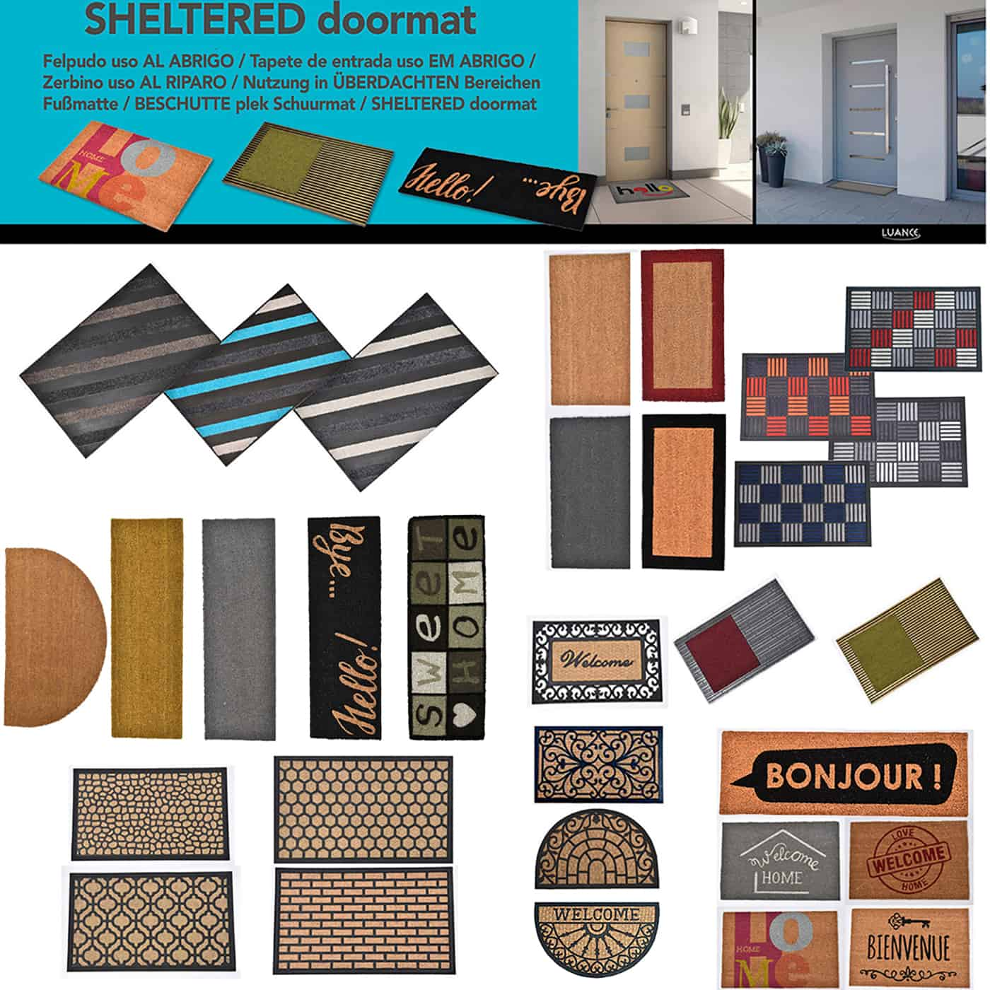 Sheltered Printed Front Door Mat Welcome Home Coir Coco Fibers Rug 24x16 Grey