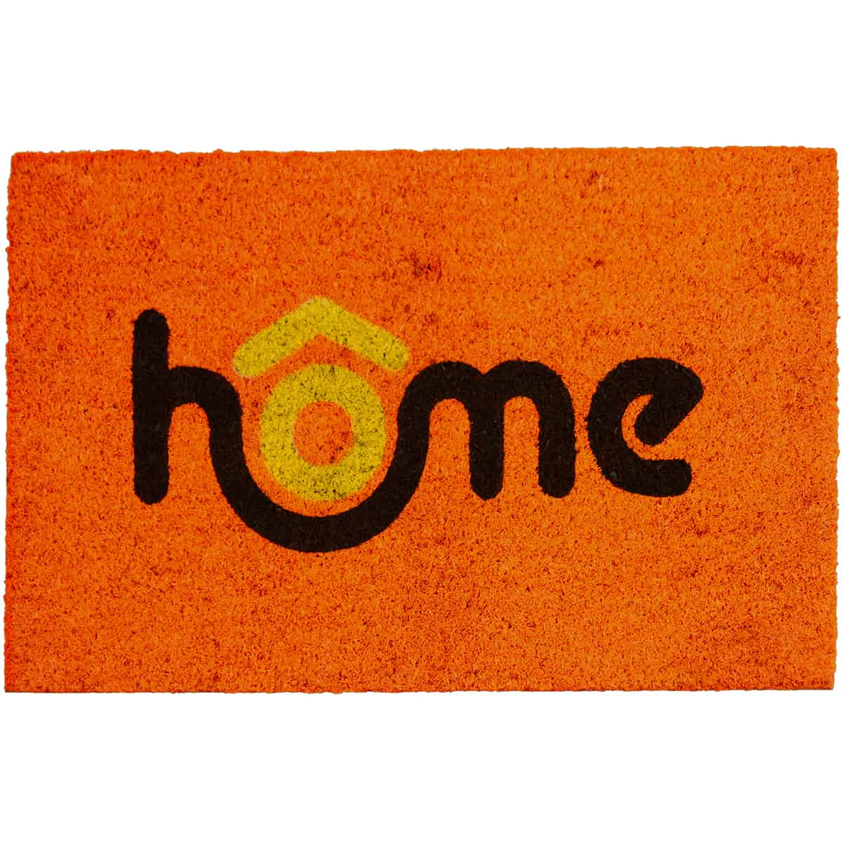 Sheltered Printed Front Door Mat Home Coir Coco Fibers Rug 24x16 Orange, Black and Yellow