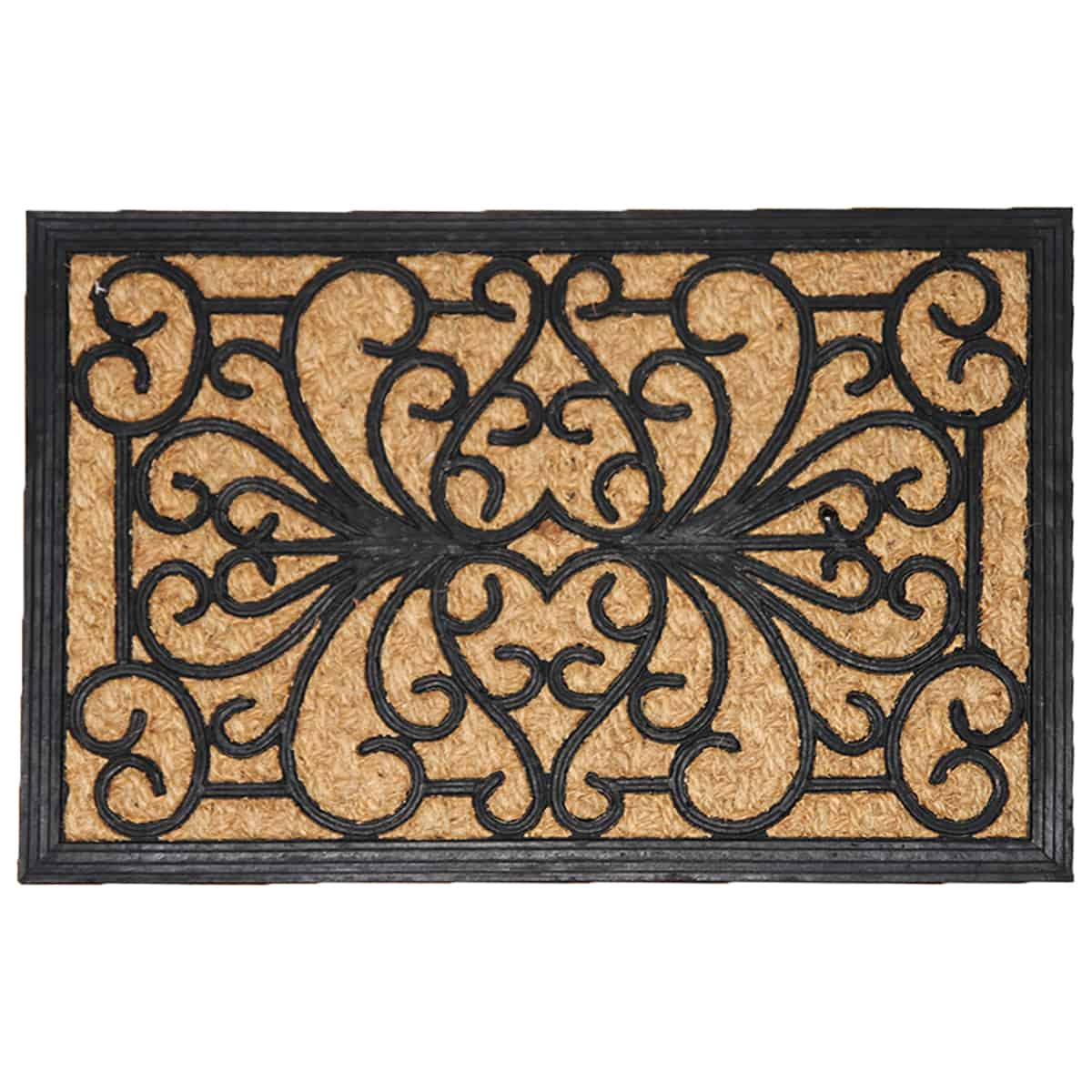 Sheltered Front Door Mat Sally Natural Braided Coir Coco Rubber Rug 24x16