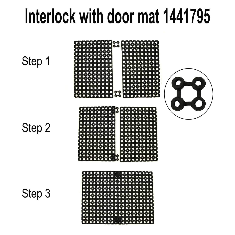 Outdoor Interlocking Railing Rubber Connectors For Floor Mat Set of 2