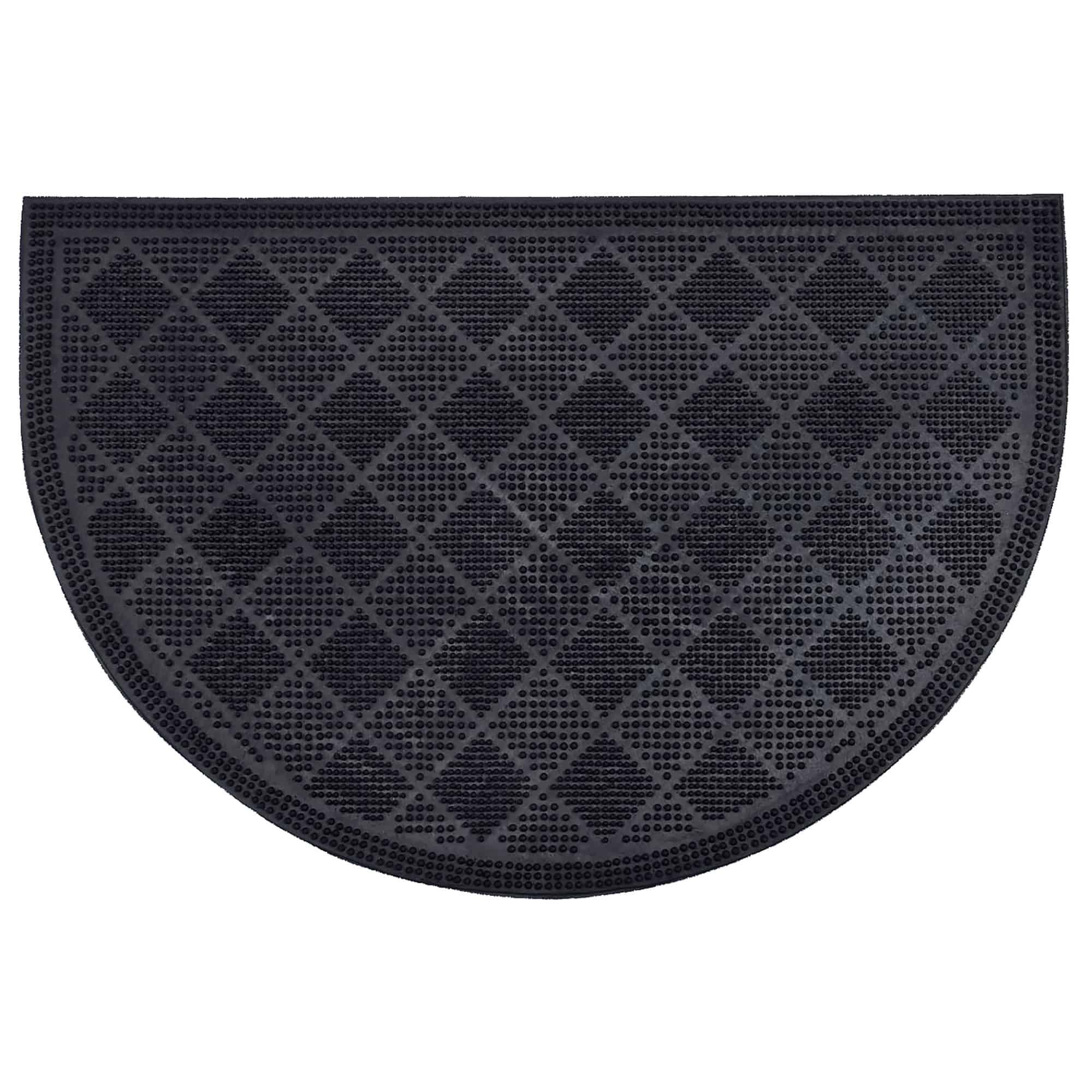 Outdoor Half Round Front Door Mat Drew Checkerboard Rubber Rug 24x16 Black