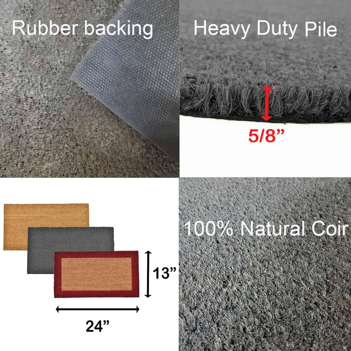 Sheltered Front Door Mat Coir Coco Fibers Rug 24x13 Grey