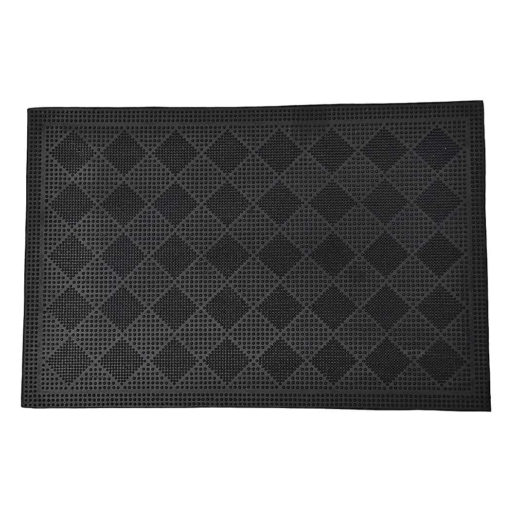 Outdoor Front Door Mat Drew Checkerboard Rubber Rug 24x16 Black