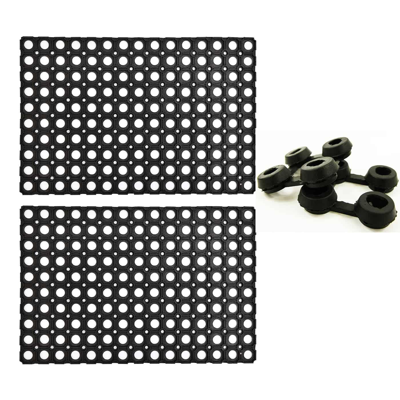 Set of 2 Mats Outdoor Interlocking Rubber Floor Mat Anti-Fatigue with 2 connectors