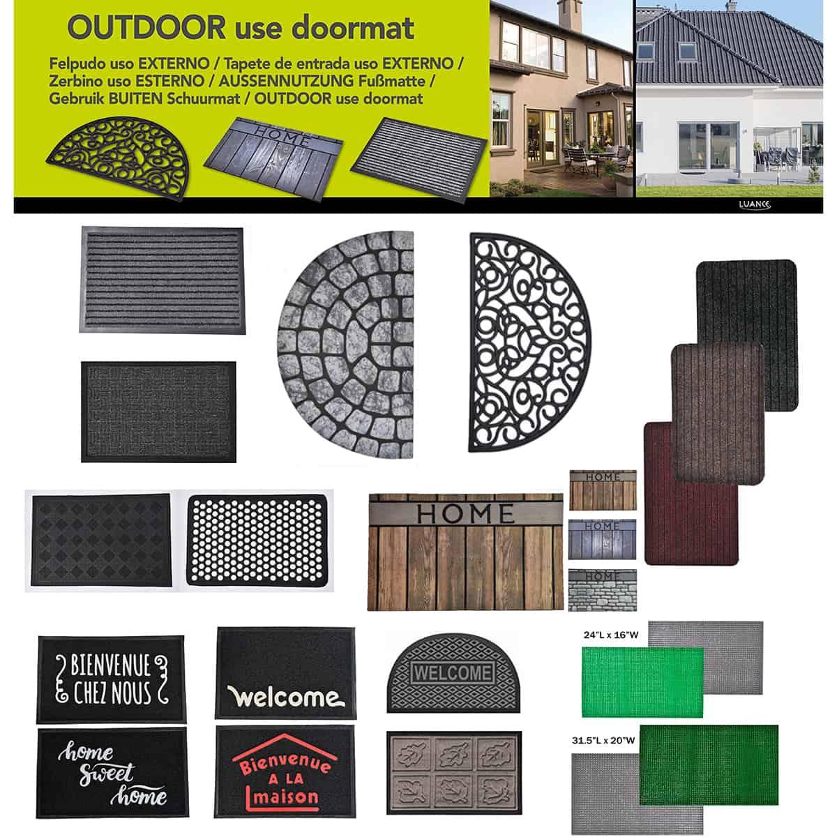 Outdoor Front Door Mat Home Wood Flooring Rubber Rug 30x18 Grey