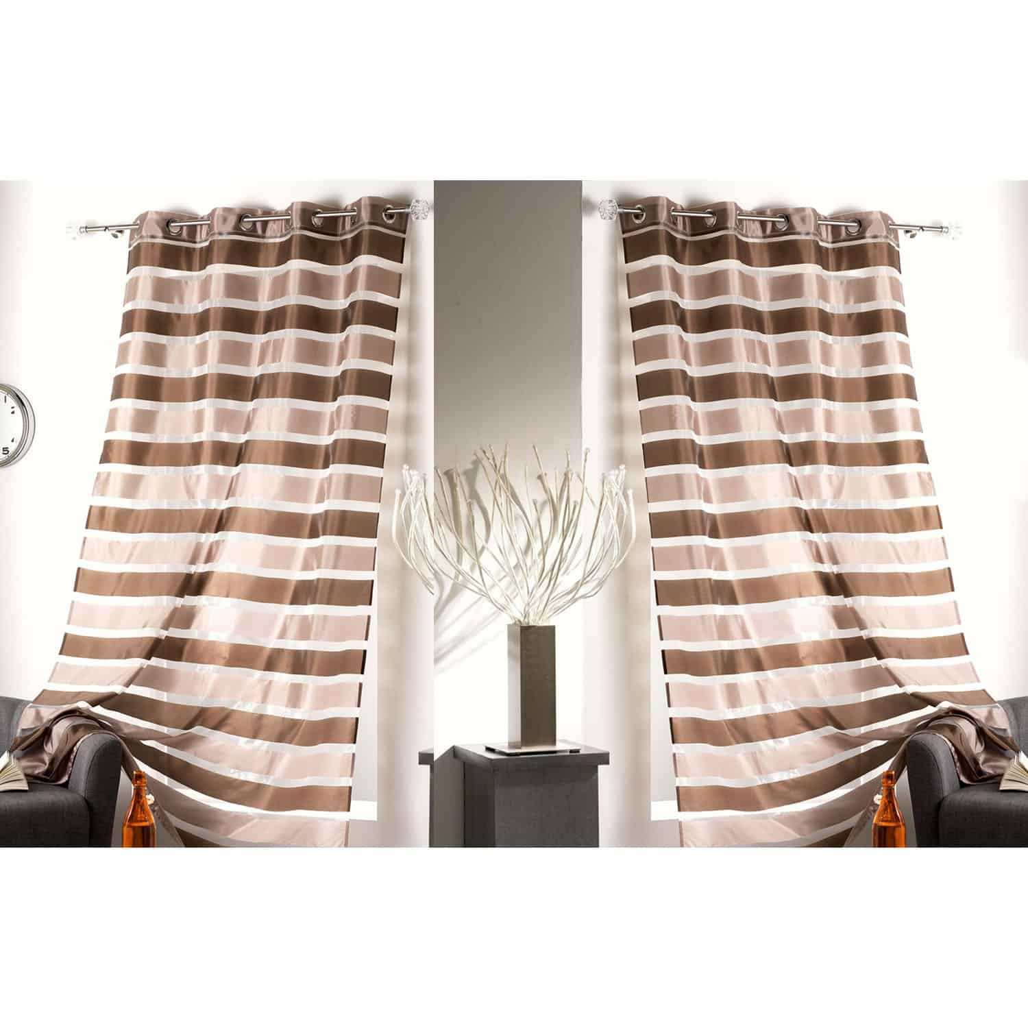 Striped Sheer Grommet Curtain Panels Colorado 55 W x 95 L BROWN