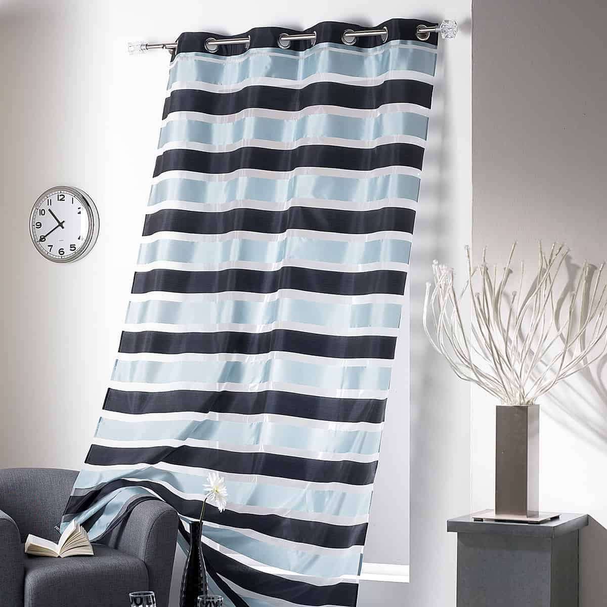 Set of 2 Striped Sheer Grommet Curtain Panels Colorado