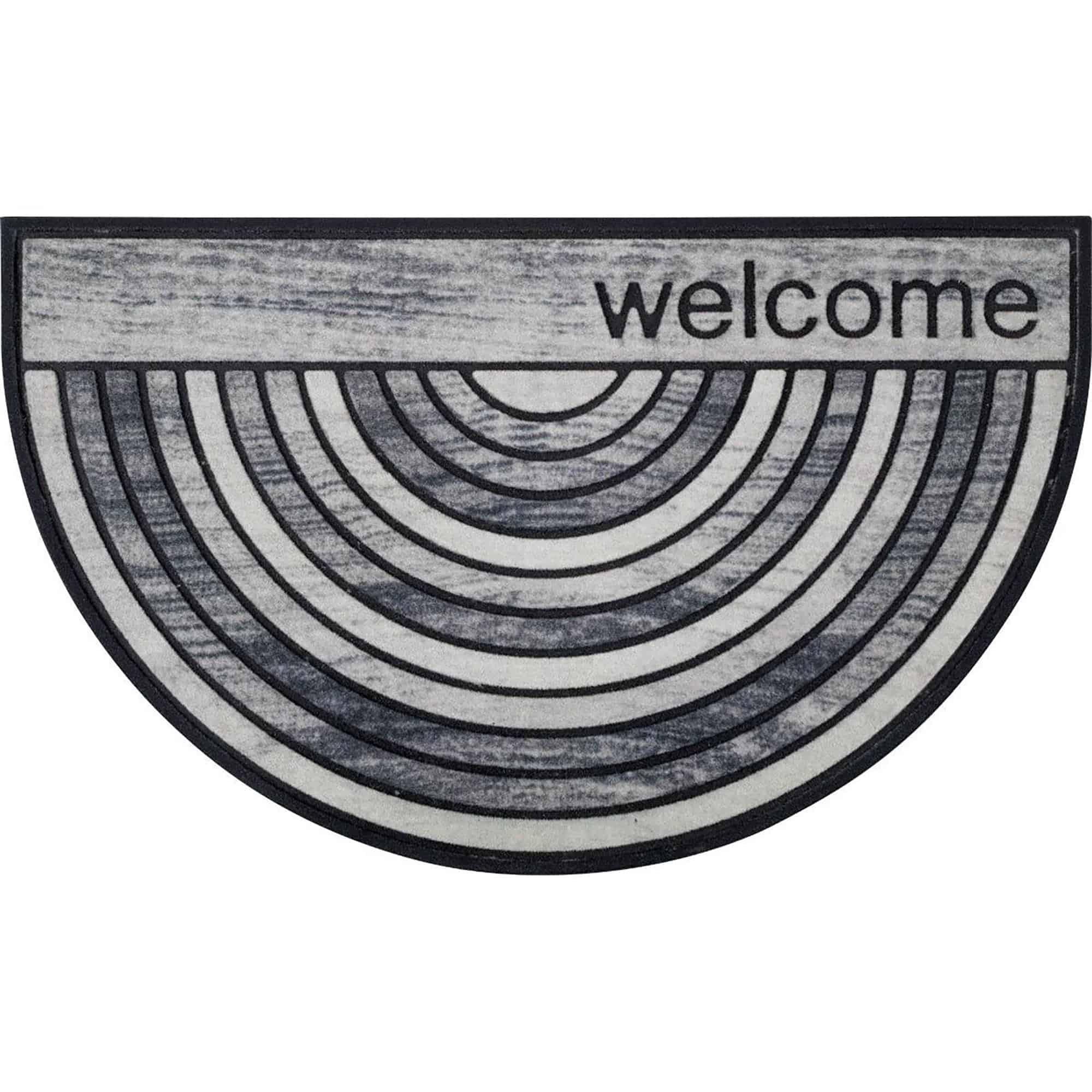 Welcome Half Round Front Doormat Outdoor 30 x 18 Recycled Rubber Door Mat for Entry Way