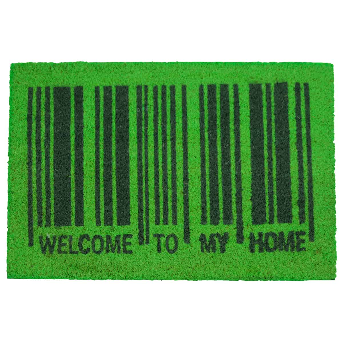 Sheltered Printed Front Door Mat Welcome To My Home Barcode Coir Coco Fibers Rug 24x16 Green Black