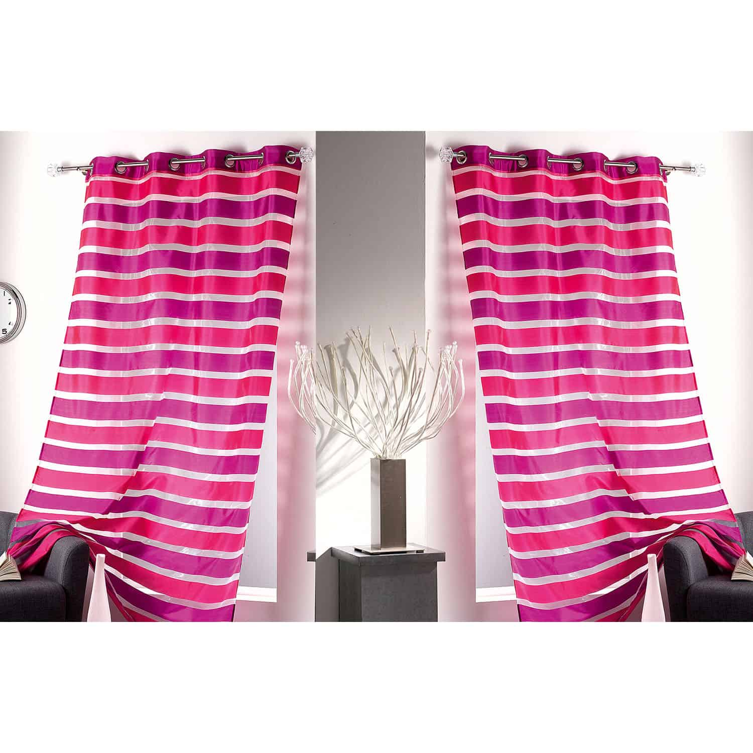 Striped Sheer Grommet Curtain Panels Colorado 55 W x 95 L PINK
