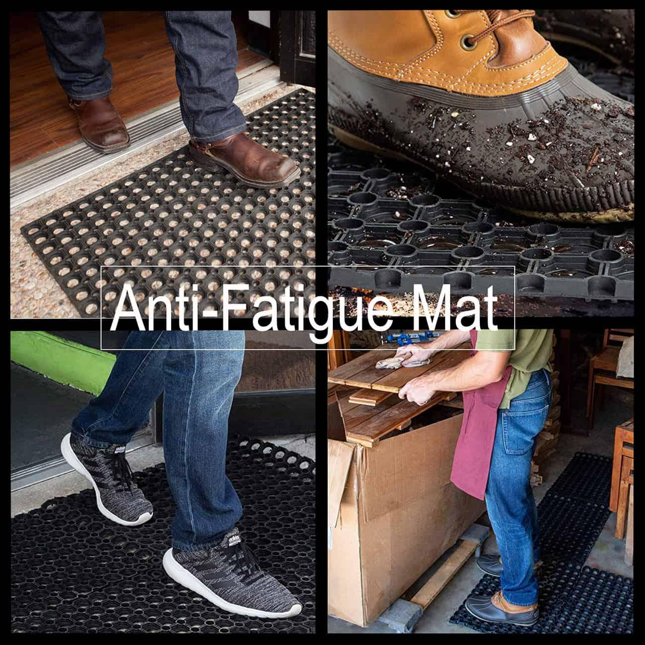 Outdoor Interlocking Rubber Floor Mat Anti-Fatigue Door Mat 24Lx16W Black
