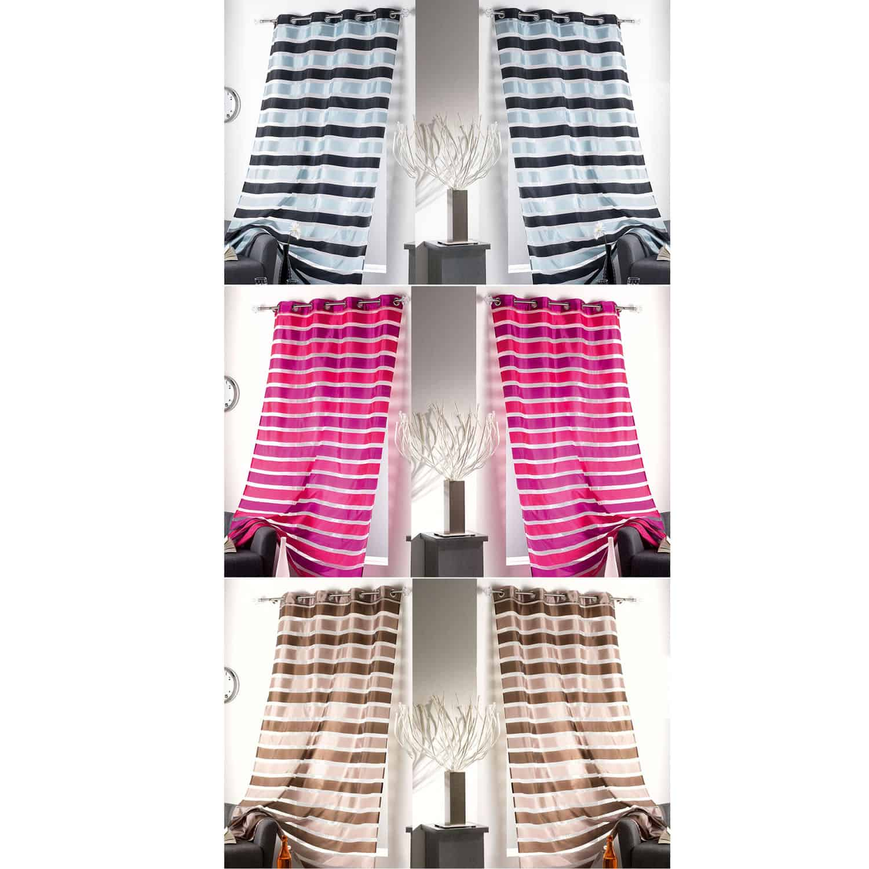 Striped Sheer Grommet Curtain Panels Colorado 55 W x 95 L BLACK