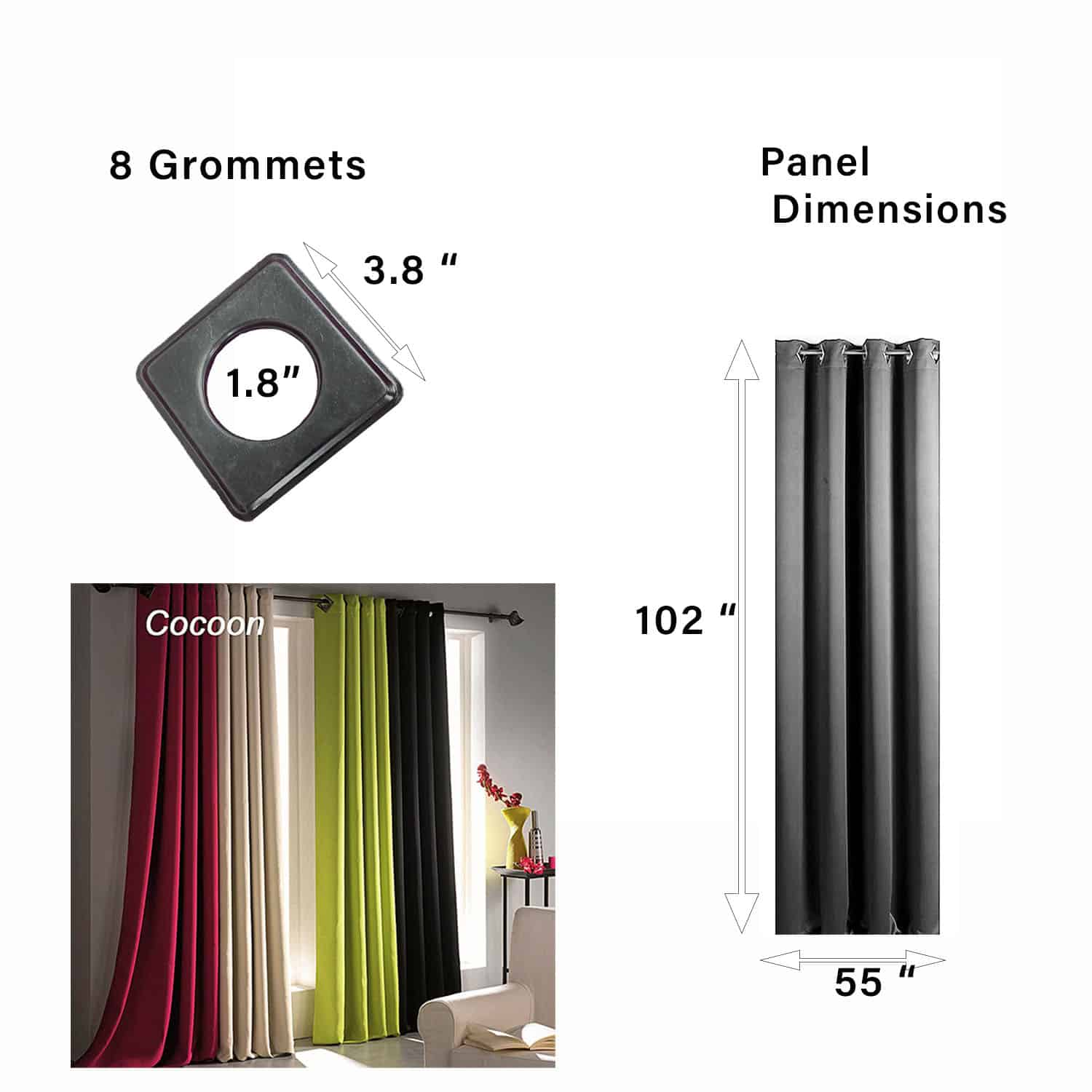 Set of 2 Blackout Window Curtain Panel Square Grommets Cocoon