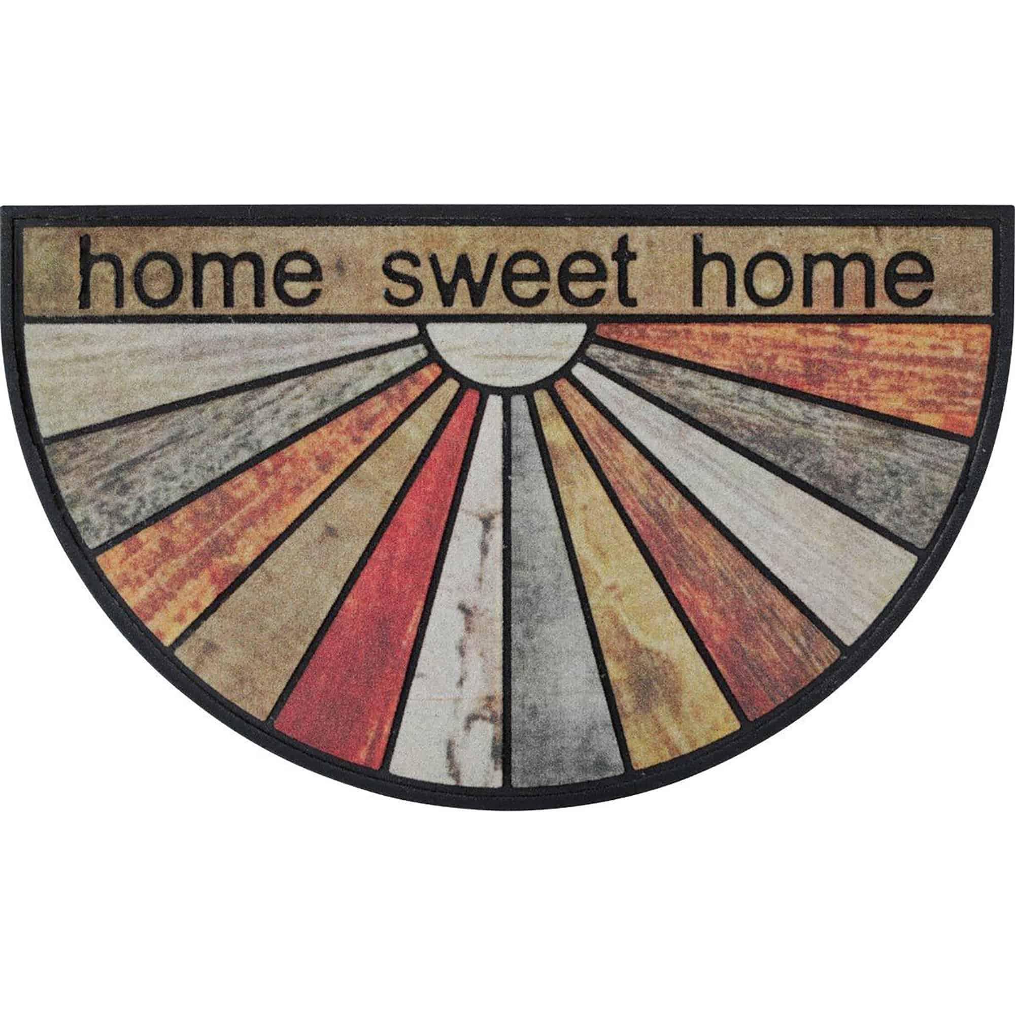 Home Sweet Home Half Round Front Doormat Outdoor 30 x 18 Recycled Rubber Door Mat for Entry Way