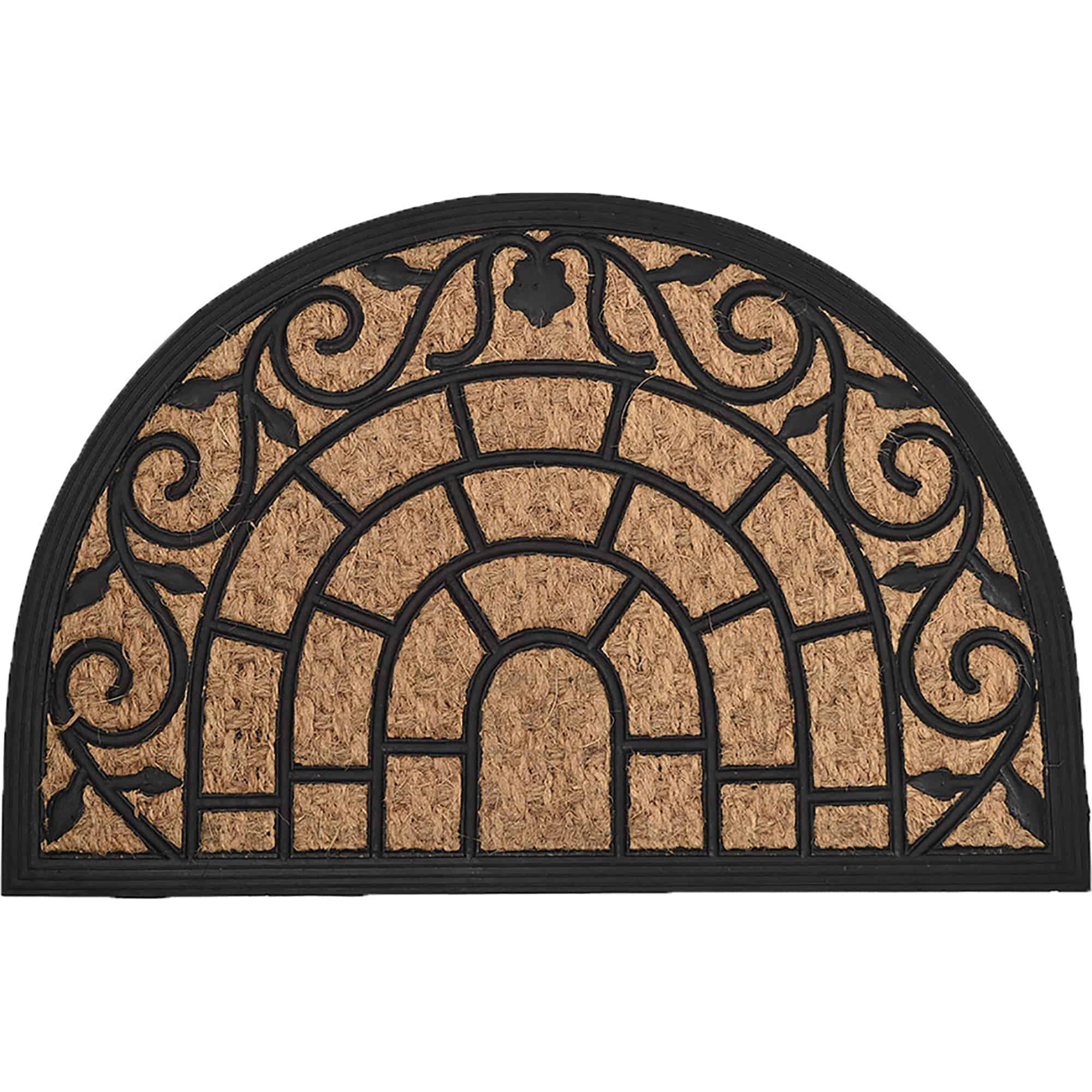 Sheltered Half Round Front Door Mat Harry Natural Braided Coir Coco Rubber Rug 24x16