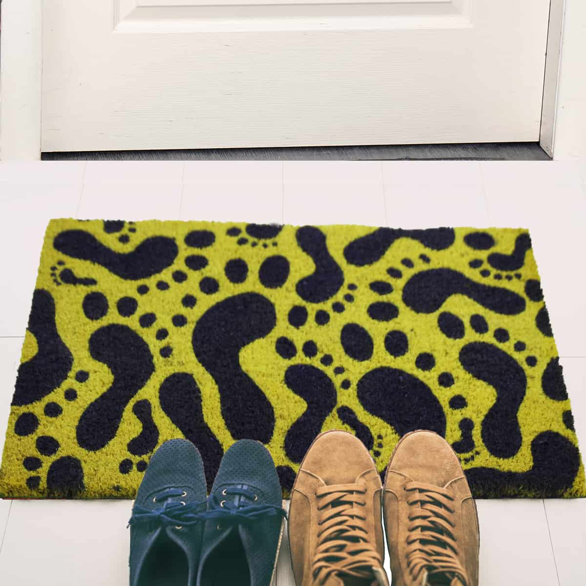 Sheltered Printed Front Door Mat Footprints Coir Coco Fibers Rug 24x16 Yellow and Black