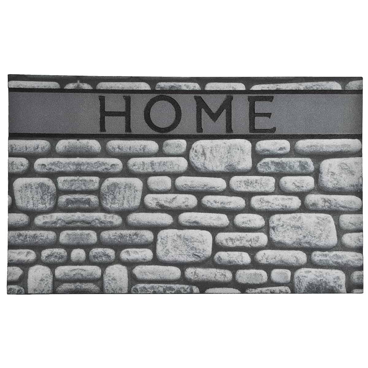Outdoor Front Door Mat Home Stones Rubber Rug 30x18 Grey