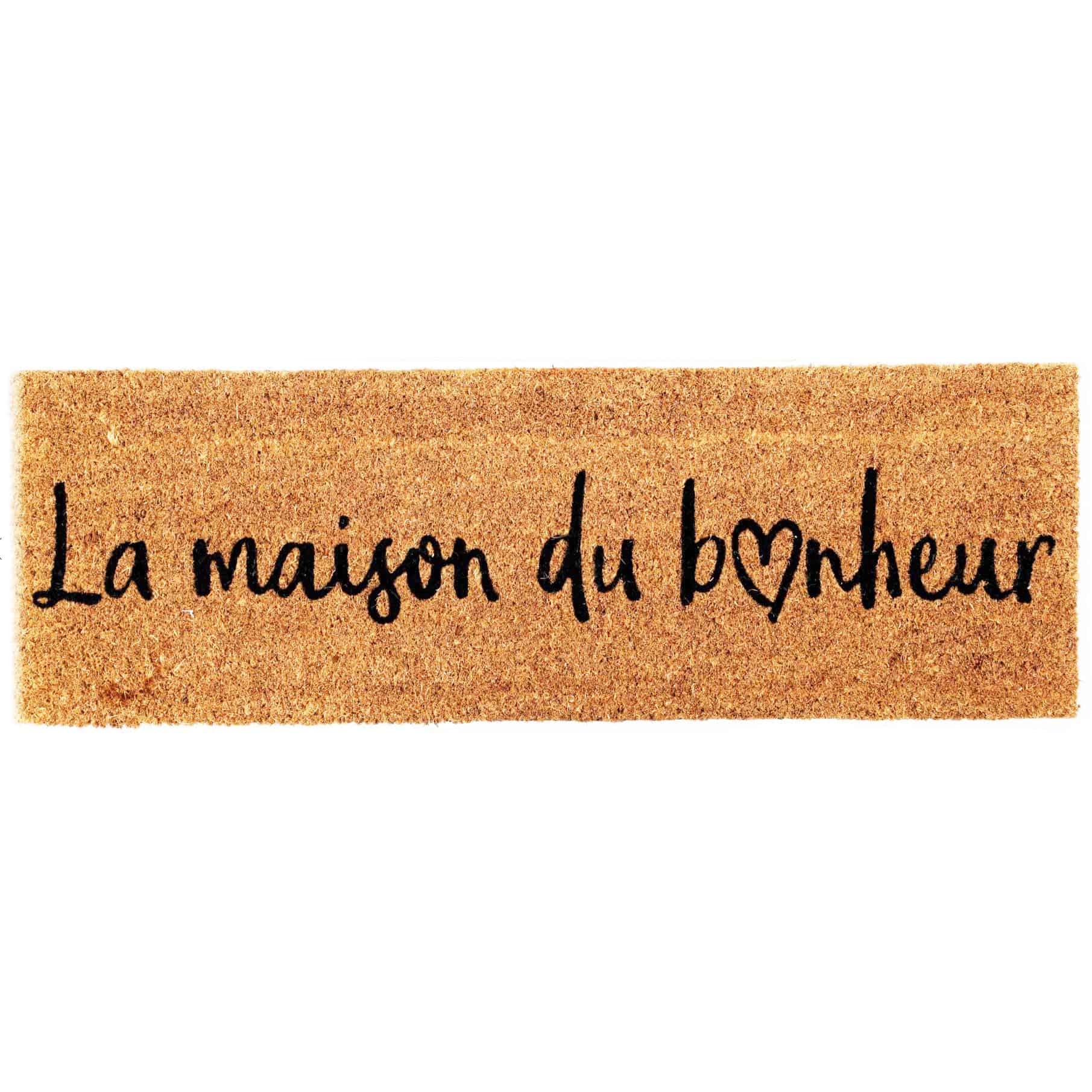 """La Maison du Bonheur 30"""" x 10"""" Sheltered Long Front Door Mat Coco Coir Fibers Natural Color"""