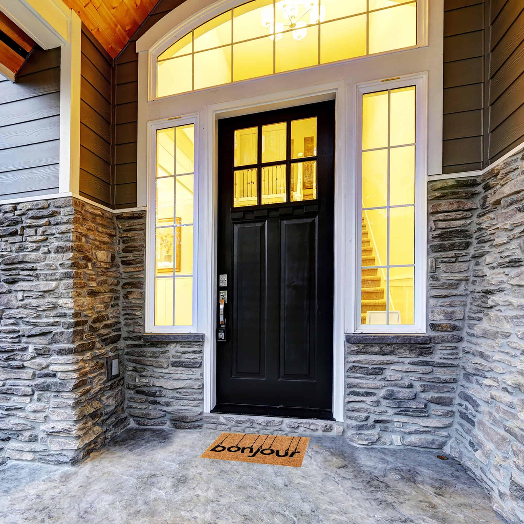 Sheltered Rectangle Coir Door Mat -Bonjour- Non Slip Backing Natural- Black 24x16