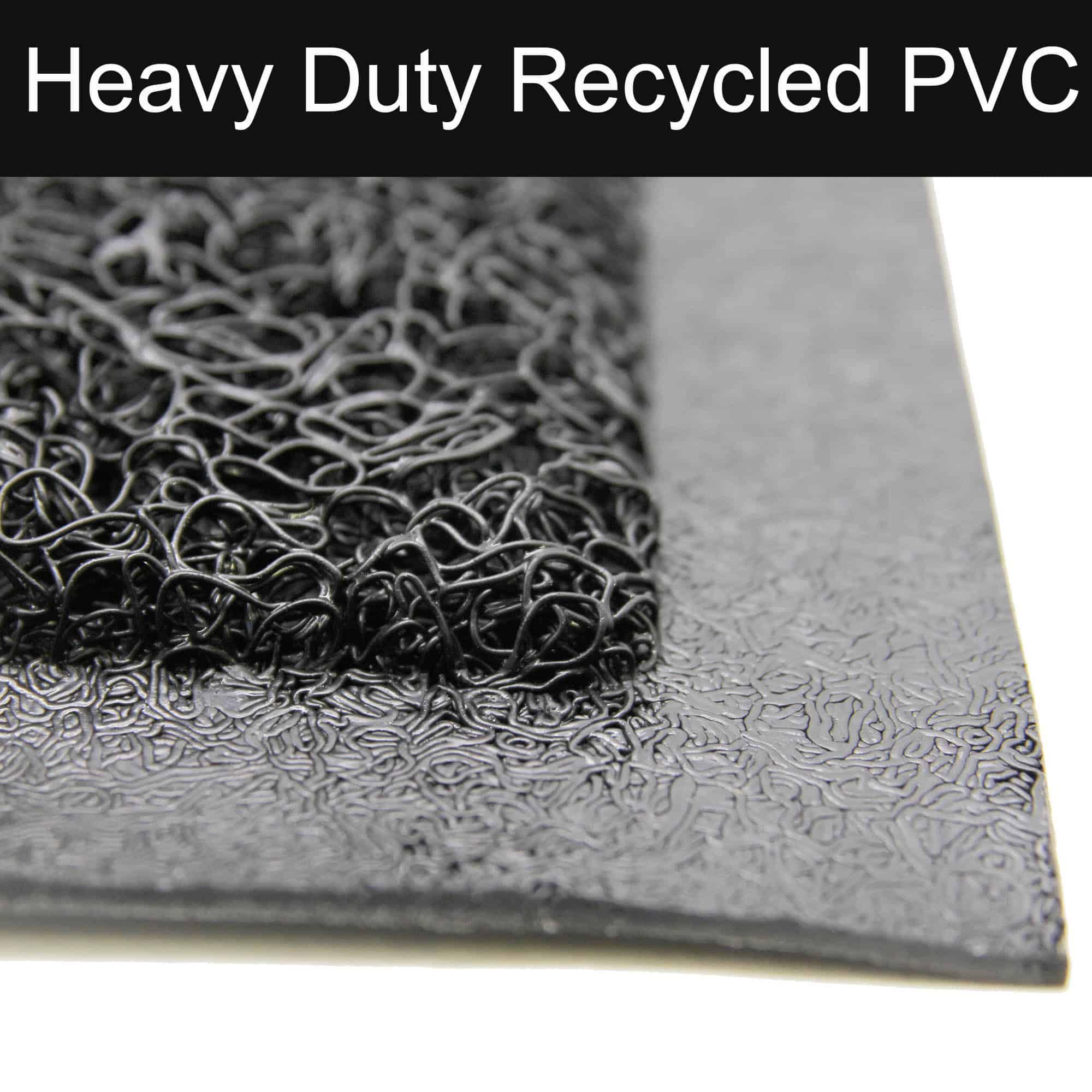 """Outdoor Runner Mat Scraper Front Door Mat Recycled PVC Non-Slip Backing 48""""x18"""" Black"""