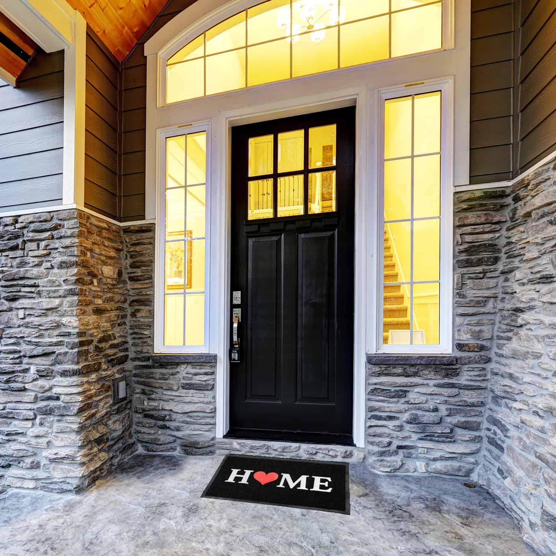 Outdoor Printed Front Door Mat Home PVC Rug 30x18 Black