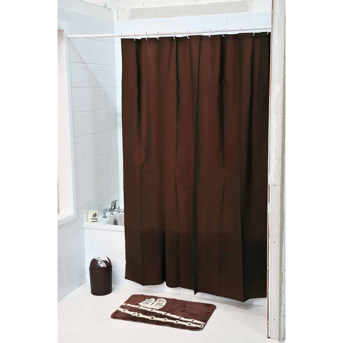"Extra Length PEVA Bathroom Shower Curtain Brown 71""L x 79""H"