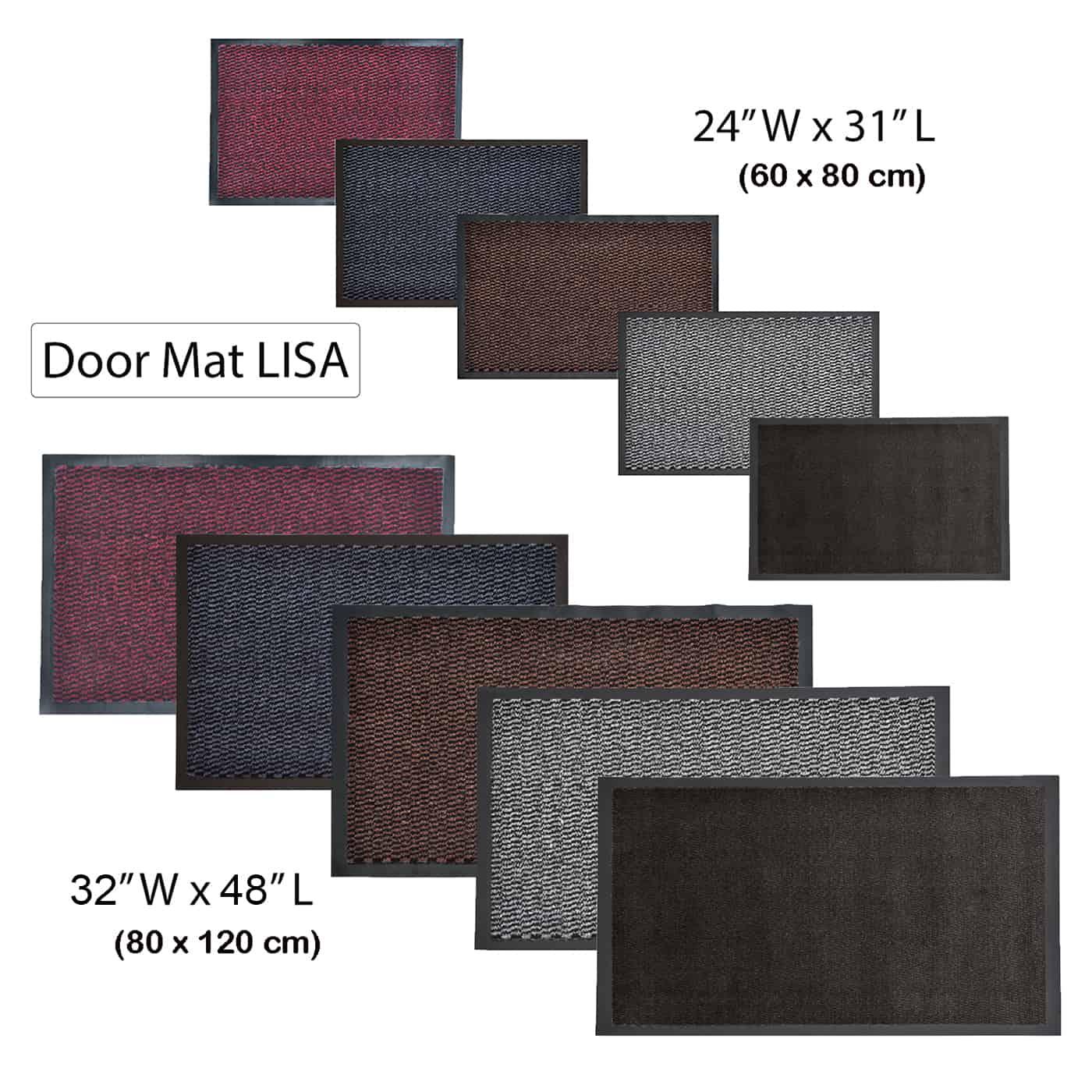 Indoor Large Door Mat Lisa 48 L x 32 W Inch PP-PVC - Burgundy