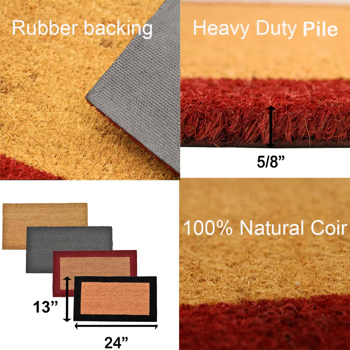 Sheltered Front Door Mat Coir Coco Fibers Rug 24x13 Natural-Border Red