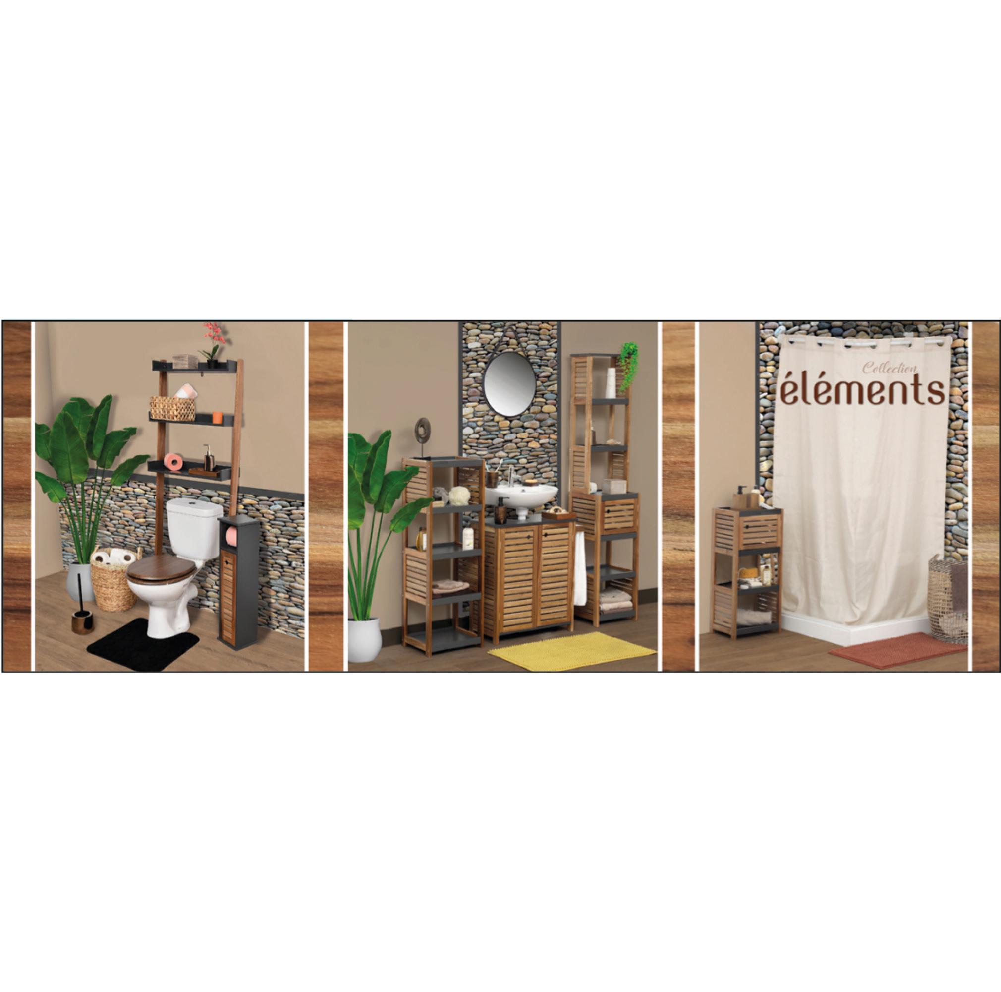 Bath Storage Floor Cabinet Elements 1 Door 3 Shelves Wood Grey Acacia