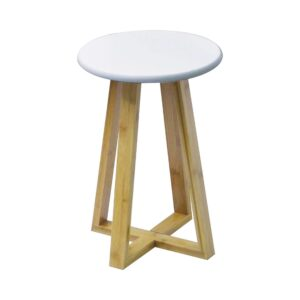 "Round Bamboo Low Vanity Stool Ottoman White Wood Tray 17""Hx 12"" L"