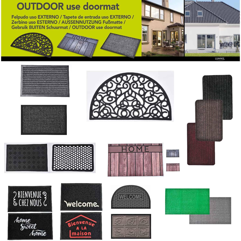 Outdoor Front Door Mat Chloe Polypropylene Latex Rug 24x16 Anthracite Grey