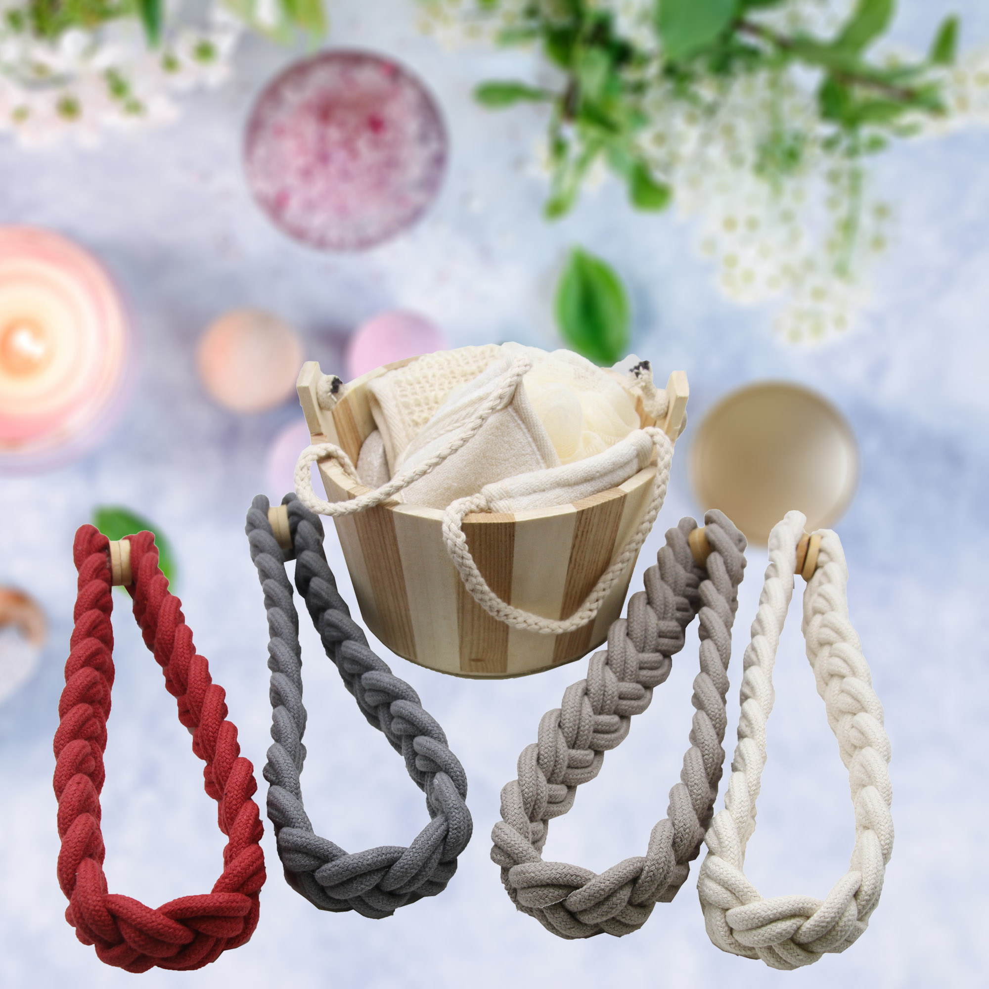 Set of 2 Magnetic Knitted Cord Curtain Tiebacks Imperial Cotton Woven