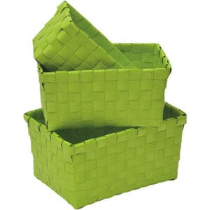 Checkered Woven Strap Storage Baskets Totes Set of 3 Lime Green