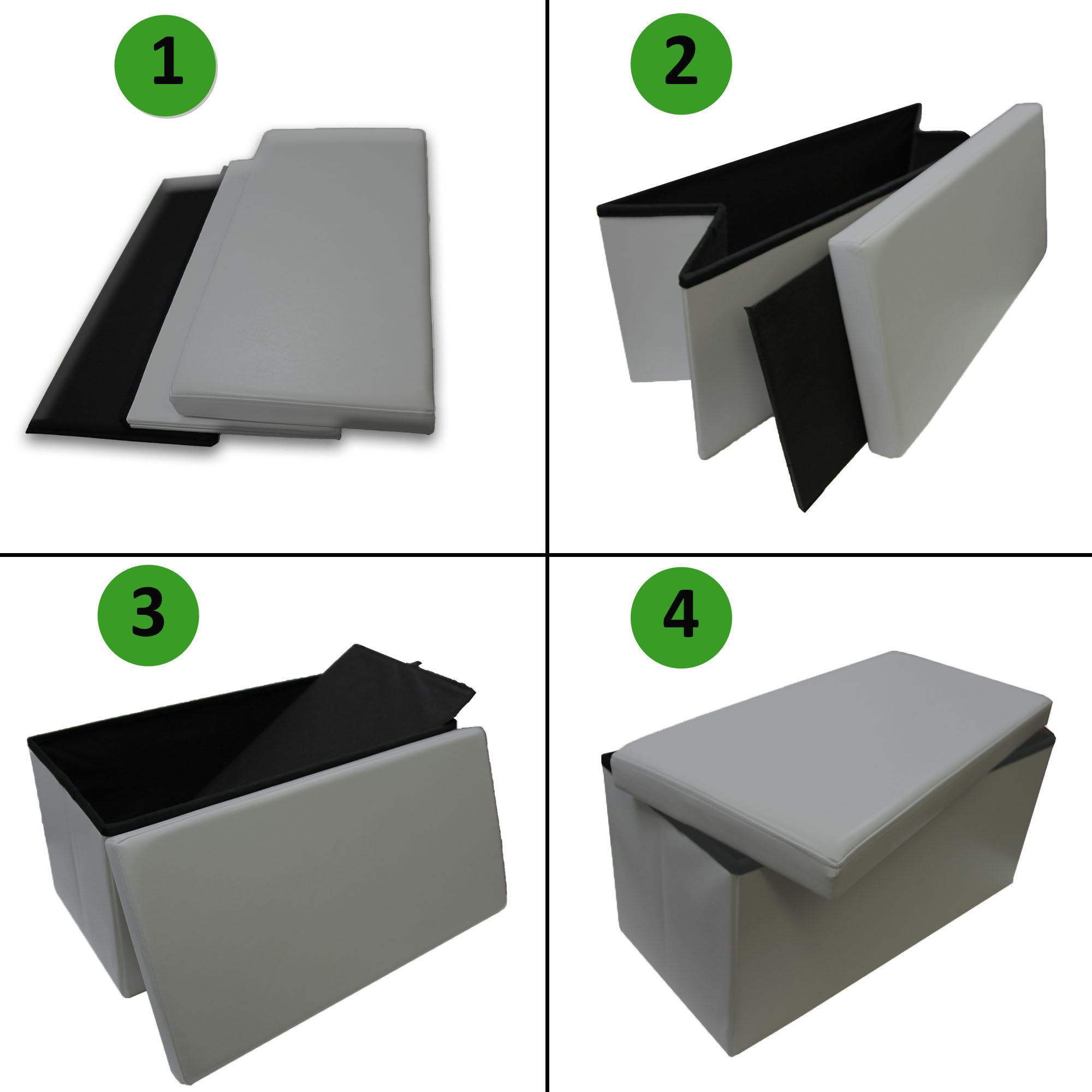 2 in 1 Folding Storage Ottoman Bench Faux Leather