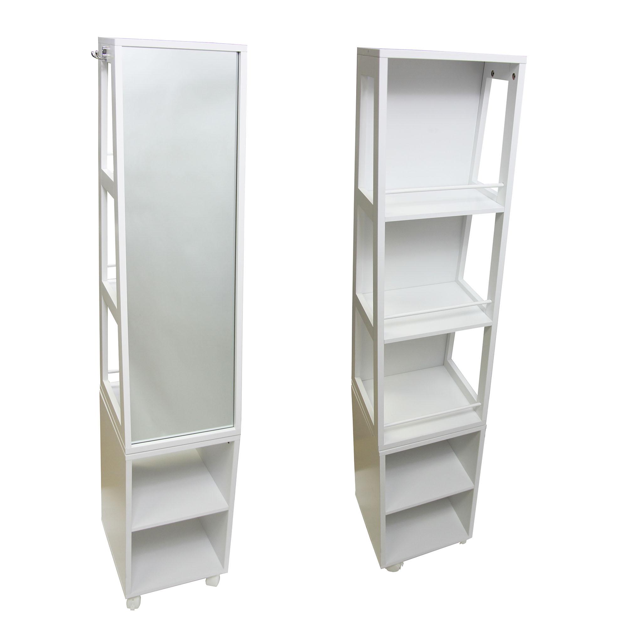 Swivel Storage Tower Cabinet Tall Organizer Linen Mirror 5 Shelves White