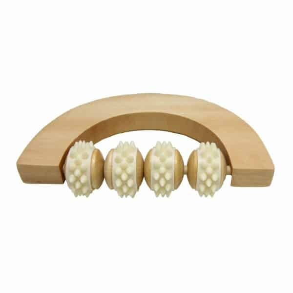 Wellness Wooden Body Massager 4 Rotable Rollers