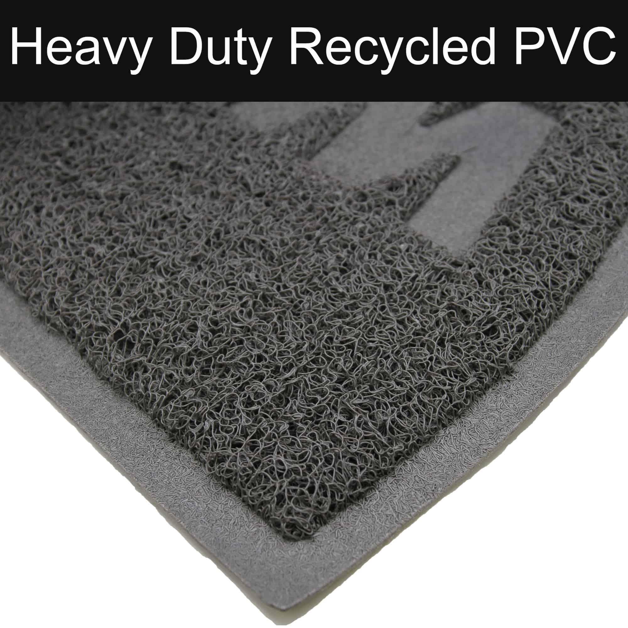"""Welcome Outdoor Door Mat Semi Circle Scraper Front Door Rug Recycled PVC Non-Slip Backing 30"""" x 18"""" Grey"""