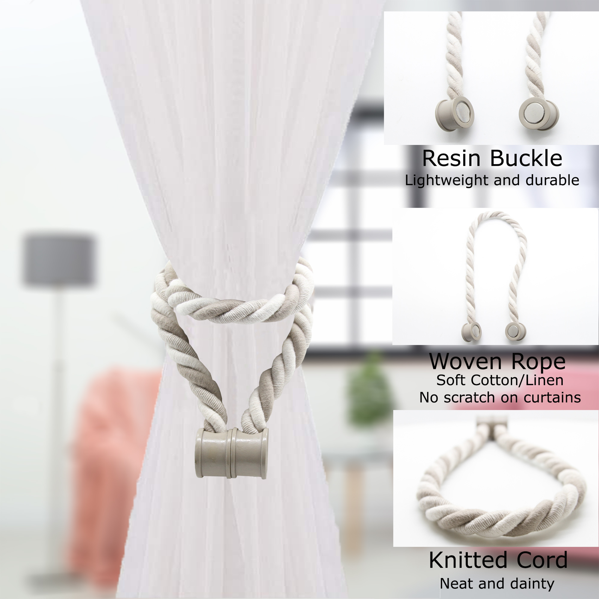 Set of 2 Magnetic Braided Cord Curtain Tiebacks Savoia Cotton Woven