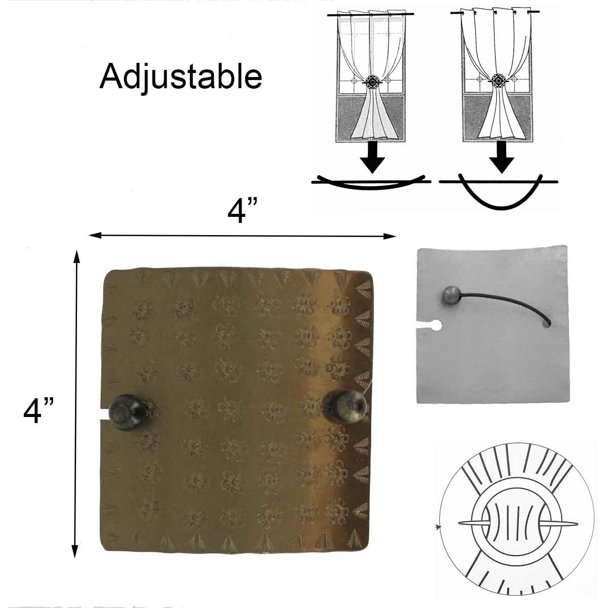 Set of 2 Metal Square Tieback With Elastic Preity