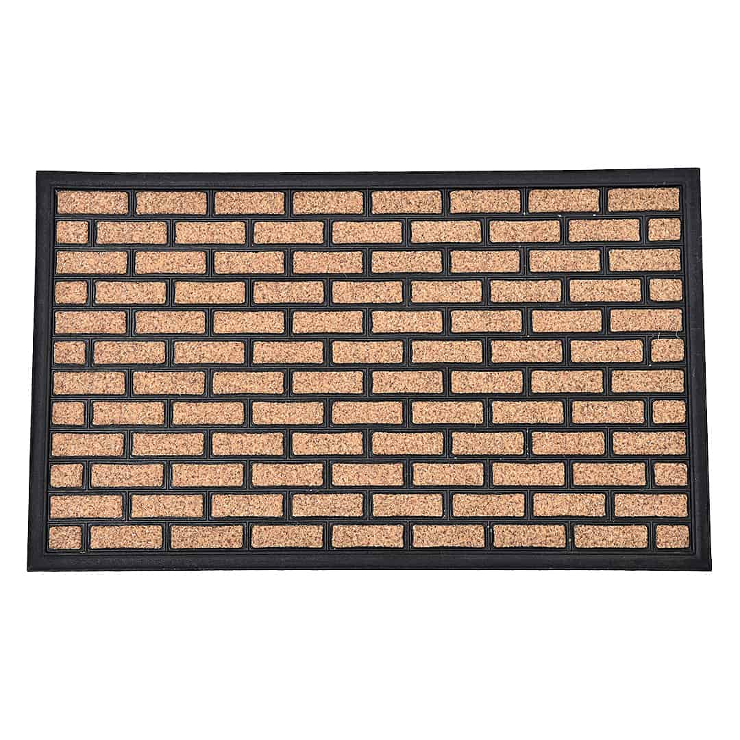 Sheltered Printed Front Door Mat Brick Polyester Rug 30x18