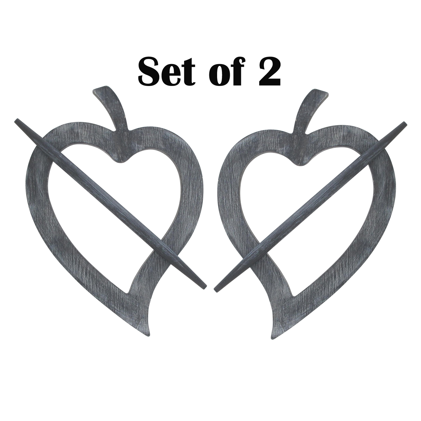 Set of 2 Wooden Heart Tieback Fjord Big Size