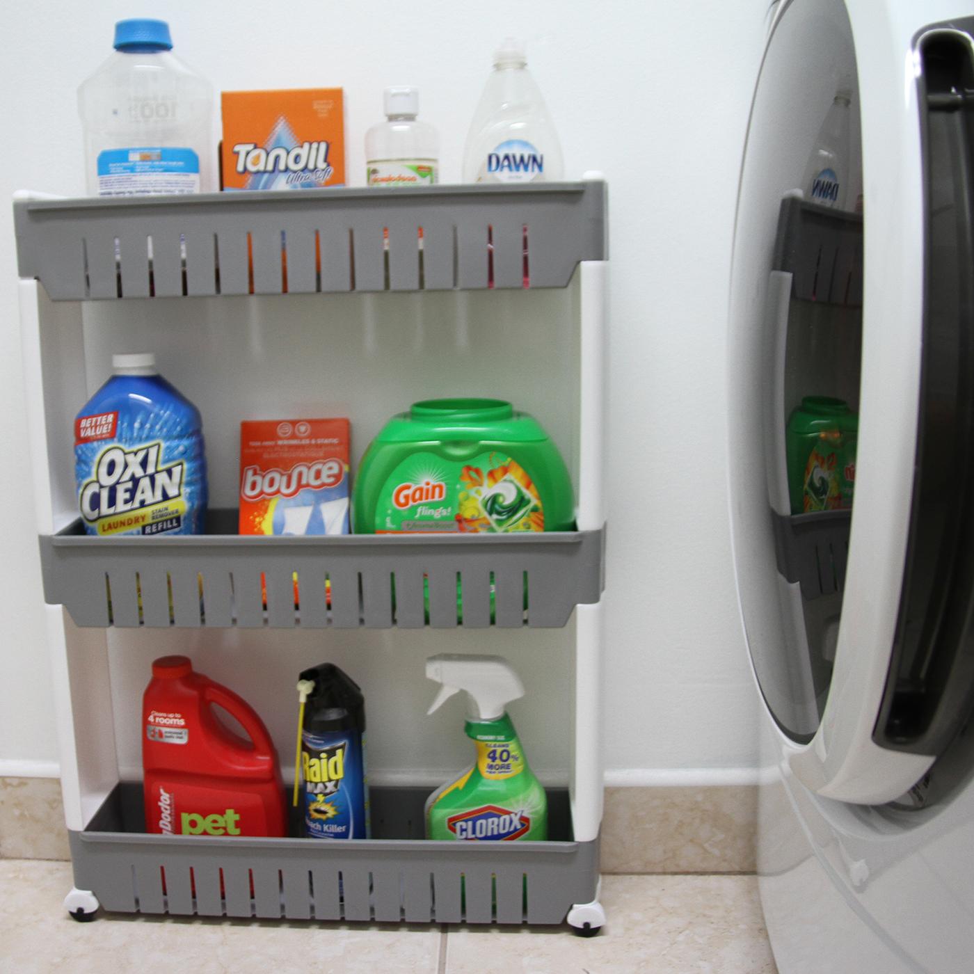 3 Tier Slim Rolling Multi Purpose Utility Cart Kitchen-Bath Gray-White