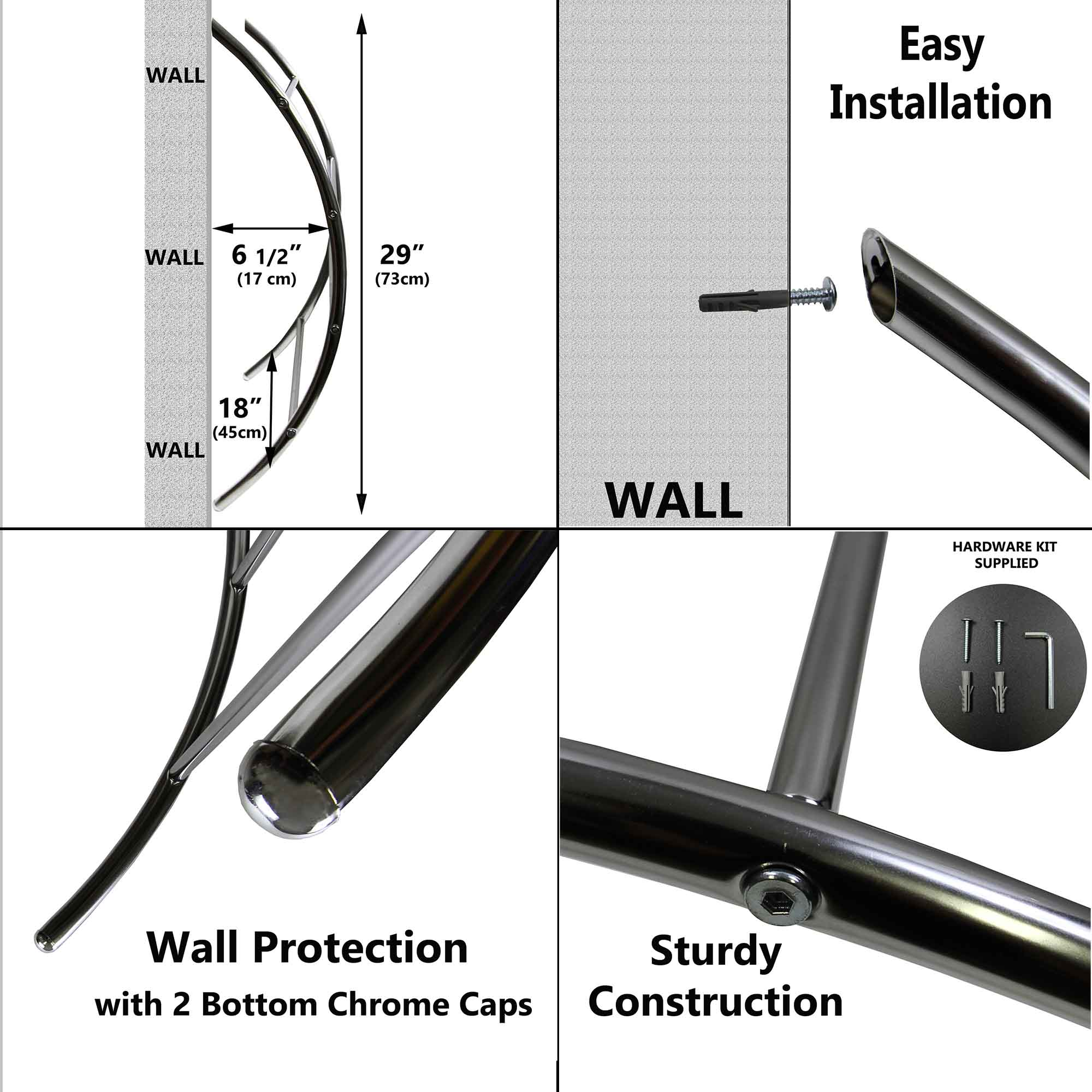 Wall Mounted Towel Rack 4 Bars Chrome