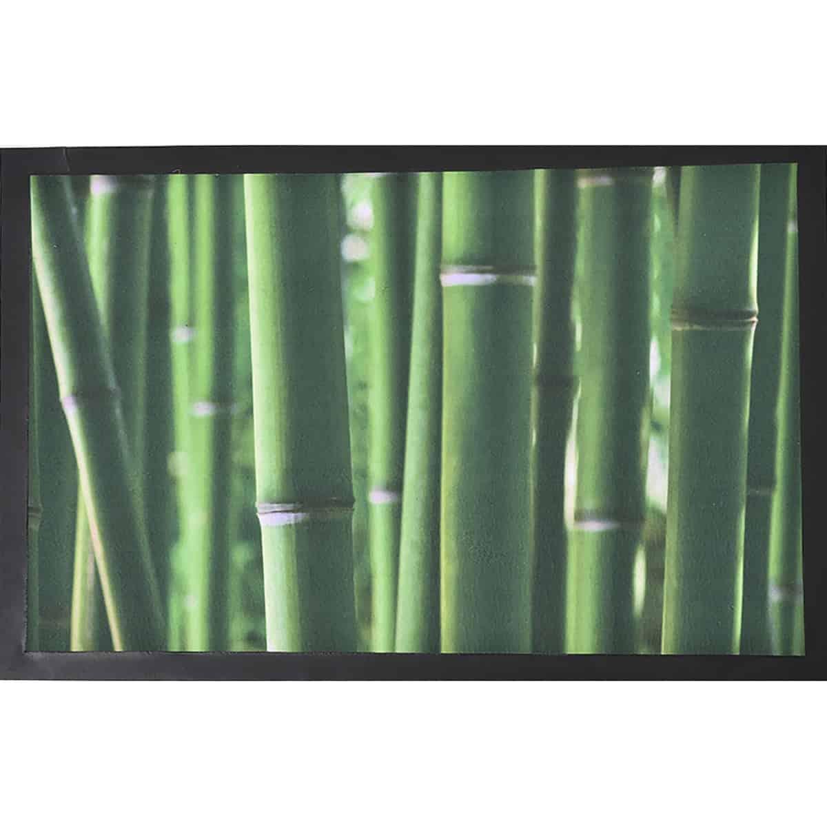 Indoor Printed Door Mat Bamboo Sticks PVC Polyester Rug 24x16