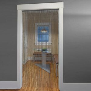 "Bamboo Sticks Beaded Curtain 65 Strings Grey 78.8""H x 35.5""W"
