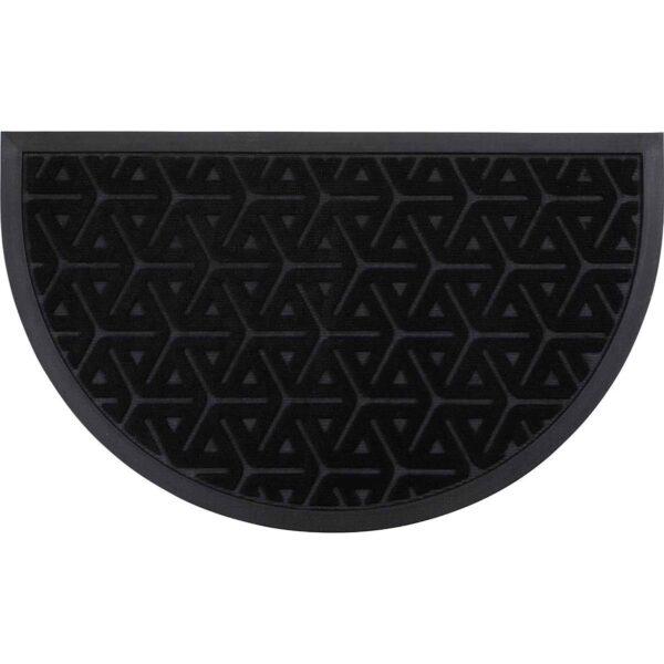 Outdoor Wilson Half Round Front Door Mat Polyester Rubber Rug 30x18 Black