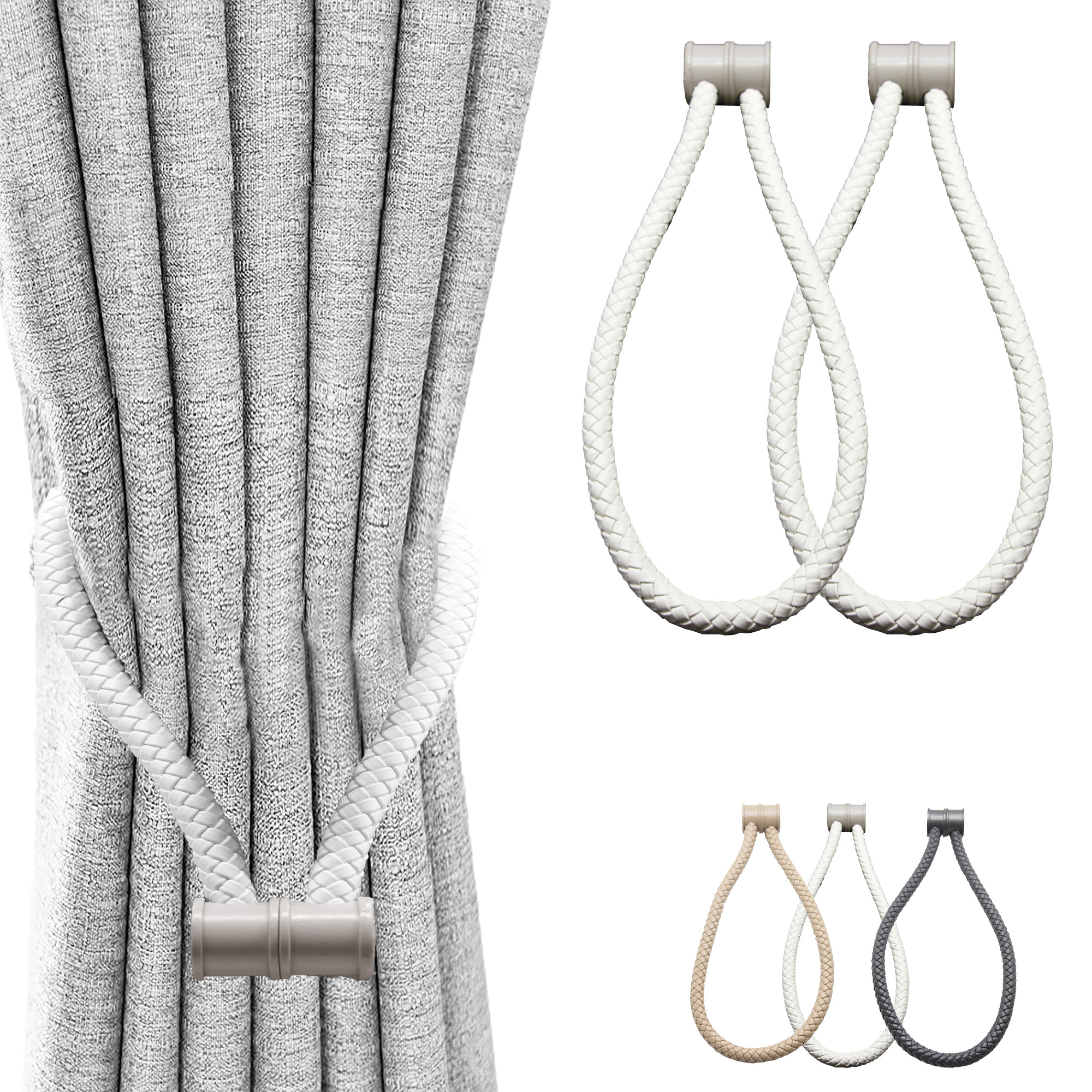 Set of 2 Magnetic Braided Cord Curtain Tiebacks Orphee Faux Leather