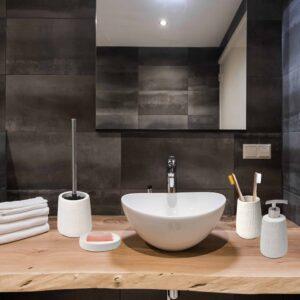 Sandstone Bathroom Toilet Bowl Brush and Holder Relax Off-White