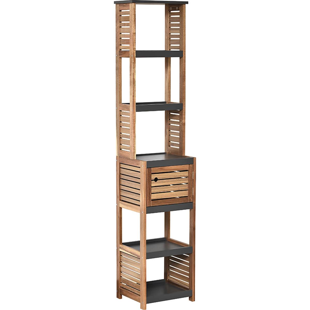Freestanding Bath Linen Tower Cabinet Elements 1 Door 5 Shelves Wood Grey Acacia